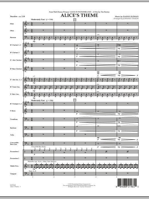 Alice's Theme (from Alice In Wonderland) (COMPLETE) sheet music for concert band by Danny Elfman and Johnnie Vinson. Score Image Preview.