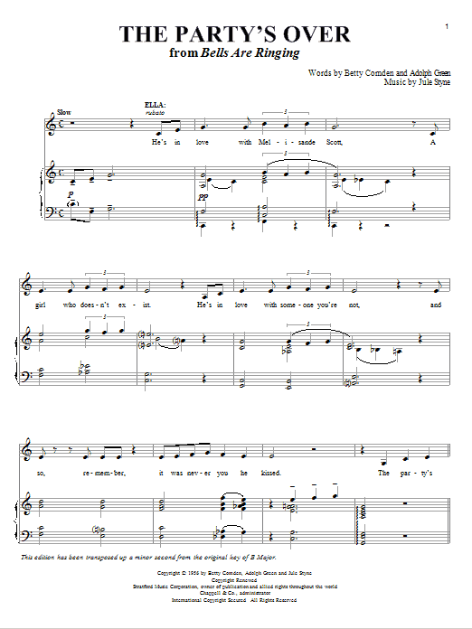 The Party's Over Sheet Music