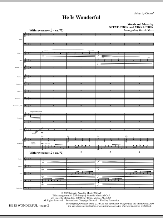 He Is Wonderful - Full Score Sheet Music