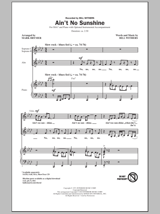 Ain't No Sunshine (arr. Mark Brymer) (SSA Choir)