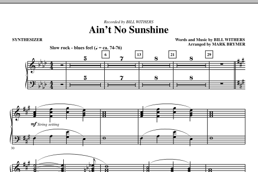 Ain't No Sunshine (complete set of parts) sheet music for orchestra/band (Rhythm) by Bill Withers and Mark Brymer. Score Image Preview.