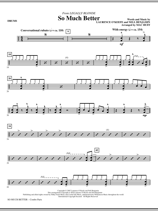So Much Better (from Legally Blonde) - Drums by Mac Huff Choir Instrumental  Pak Digital Sheet Music