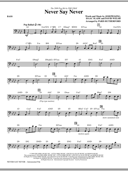Never Say Never - Bass Sheet Music