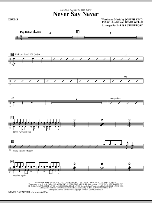 Never Say Never - Drums Sheet Music