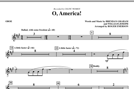 O, America (complete set of parts) sheet music for orchestra/band (Special) by Roger Emerson, Brendan Graham, Celtic Woman and William Joseph. Score Image Preview.