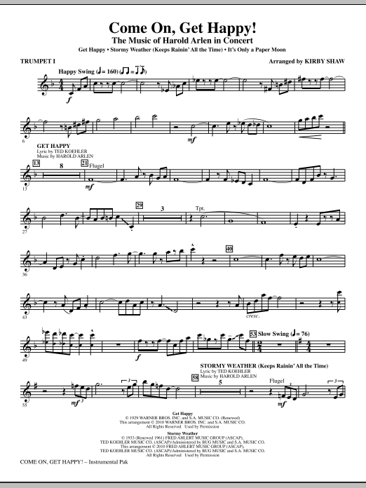 Come On, Get Happy! The Music Of Harold Arlen In Concert (Medley) - Trumpet 1 (Choir Instrumental Pak)
