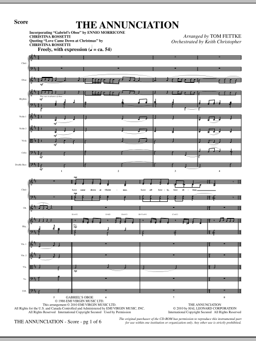 The Annunciation (incorporating Gabriel's Oboe) (complete set of parts) sheet music for orchestra/band (Strings) by Tom Fettke, Christina Rossetti and Ennio Morricone. Score Image Preview.