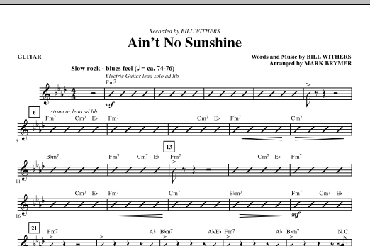 Aint No Sunshine Guitar Sheet Music Direct