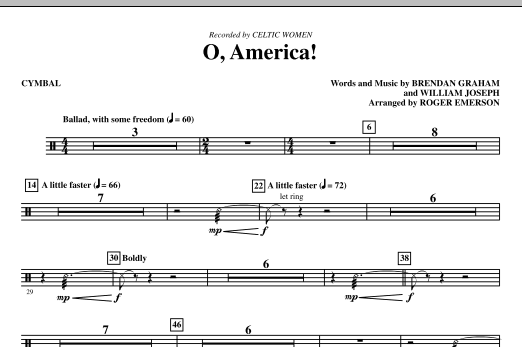 O, America - Cymbals (Choir Instrumental Pak)