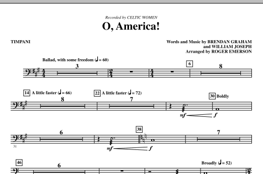 O, America - Timpani Sheet Music