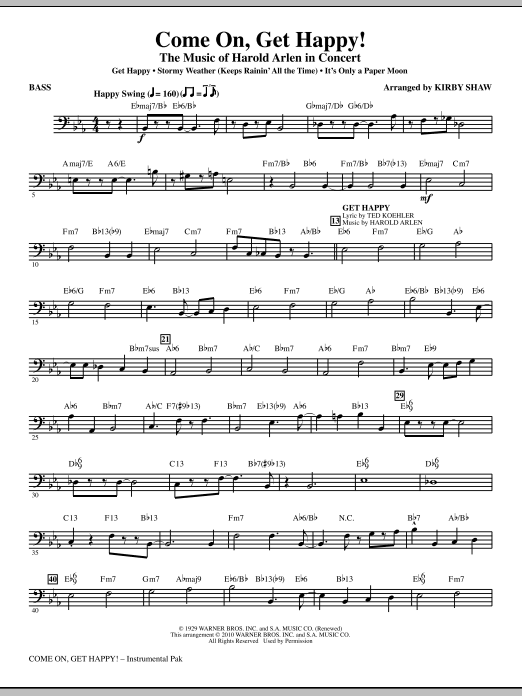 Come On, Get Happy! The Music Of Harold Arlen In Concert (Medley) - Bass (Choir Instrumental Pak)