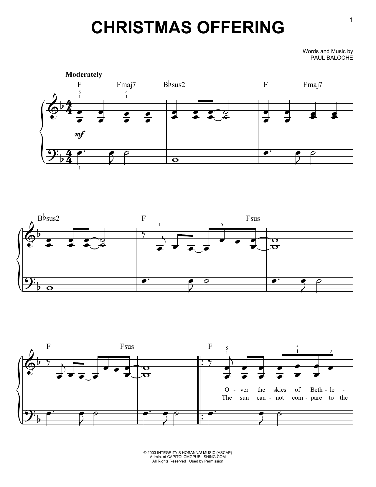 Christmas Offering (Easy Piano)