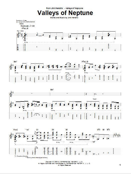 Valleys Of Neptune Sheet Music