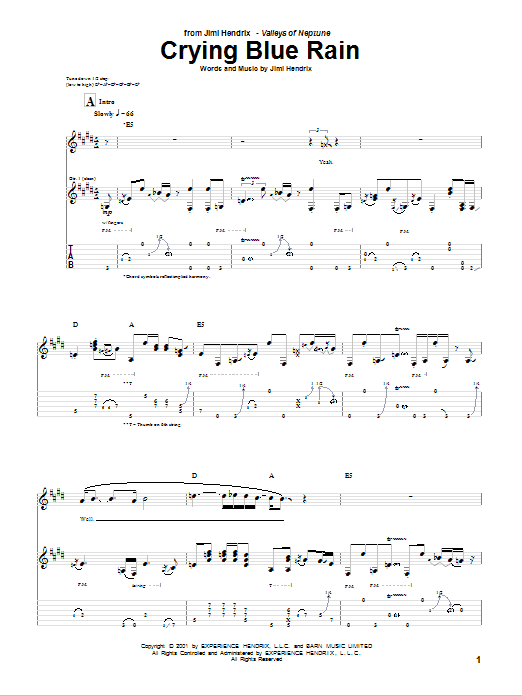 Tablature guitare Crying Blue Rain de Jimi Hendrix - Tablature Guitare