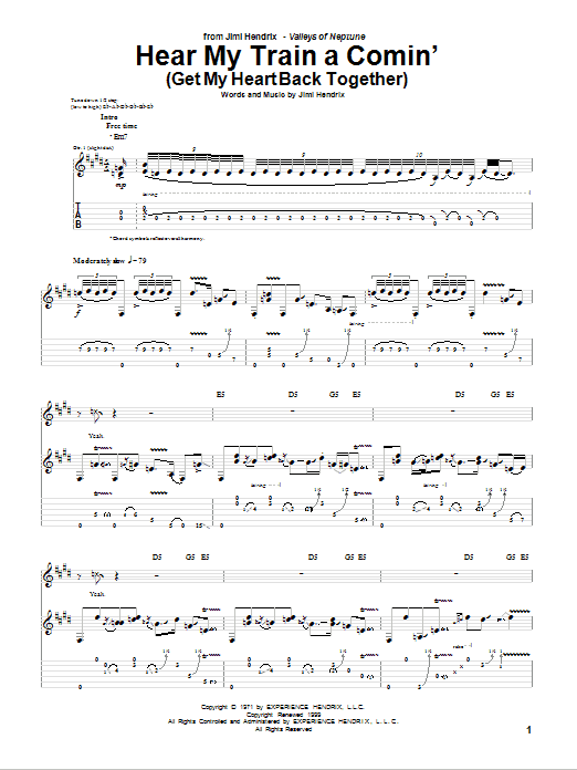 Hear My Train A Comin' (Get My Heart Back Together) (Guitar Tab)