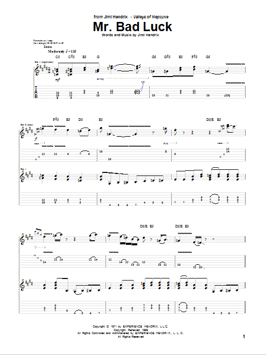 Mr. Bad Luck Sheet Music