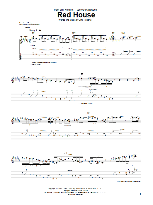 Tablature guitare Red House de Jimi Hendrix - Tablature Guitare
