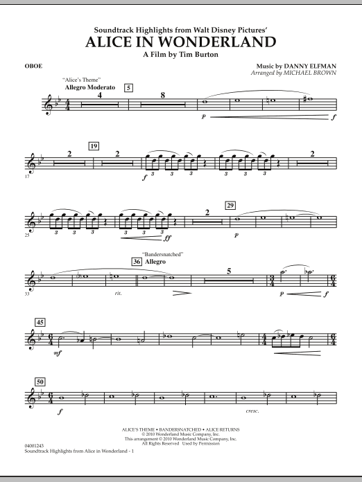 page one of Alice In Wonderland, Soundtrack Highlights - OboeASALTTEXT