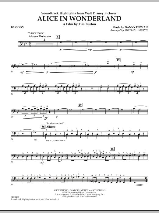 Alice In Wonderland, Soundtrack Highlights - Bassoon (Concert Band)
