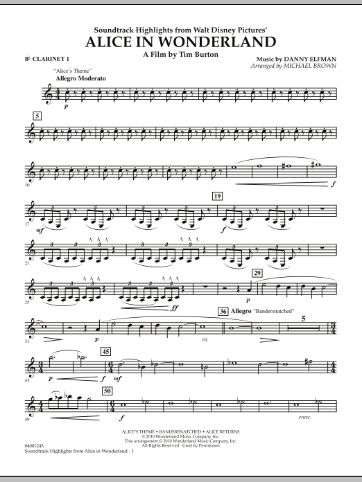 Alice In Wonderland, Soundtrack Highlights - Bb Clarinet 1 (Concert Band)