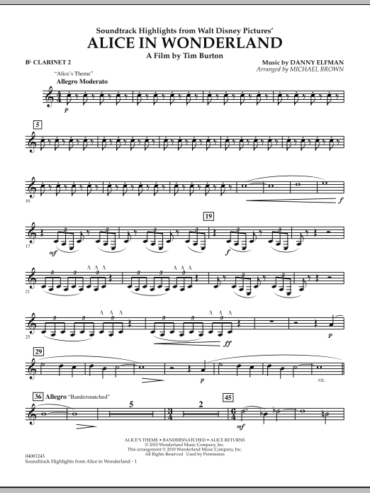 page one of Alice In Wonderland, Soundtrack Highlights - Bb Clarinet 2ASALTTEXT