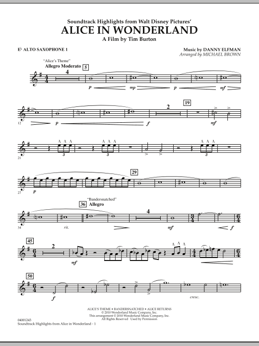 page one of Alice In Wonderland, Soundtrack Highlights - Eb Alto Saxophone 1ASALTTEXT