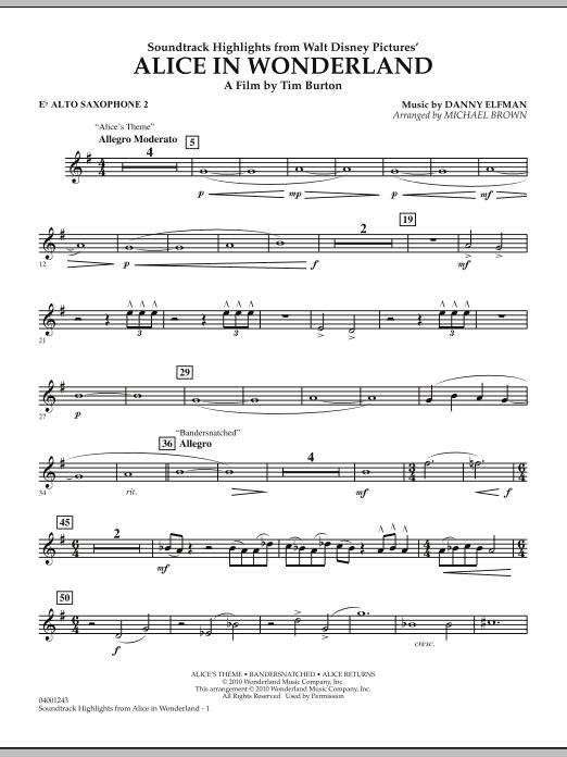 Alice In Wonderland, Soundtrack Highlights - Eb Alto Saxophone 2 (Concert Band)