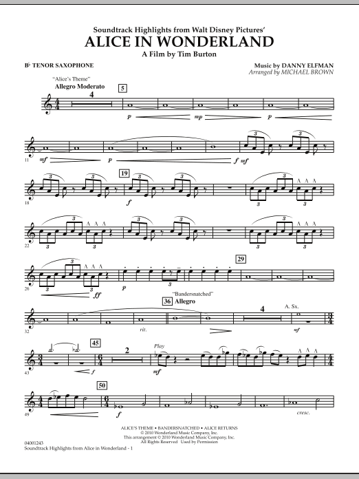 Alice In Wonderland, Soundtrack Highlights - Bb Tenor Saxophone (Concert Band)