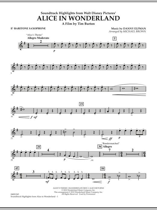Alice In Wonderland, Soundtrack Highlights - Eb Baritone Saxophone (Concert Band)