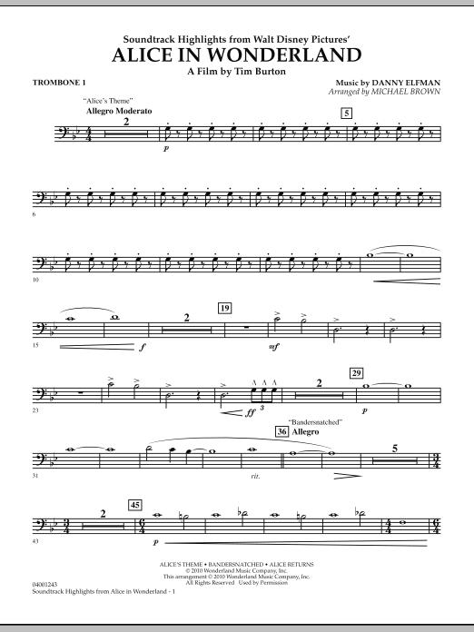Alice In Wonderland, Soundtrack Highlights - Trombone 1 (Concert Band)