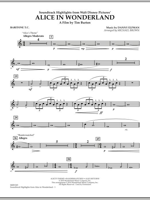 Alice In Wonderland, Soundtrack Highlights - Baritone T.C. (Concert Band)