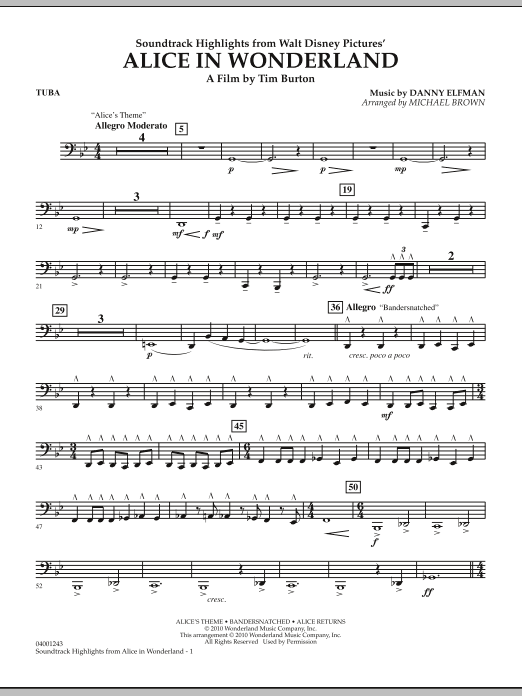 Alice In Wonderland, Soundtrack Highlights - Tuba (Concert Band)