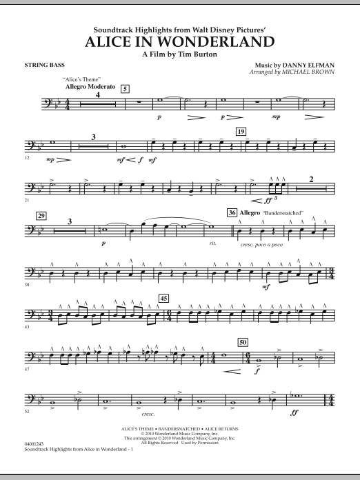 page one of Alice In Wonderland, Soundtrack Highlights - String BassASALTTEXT