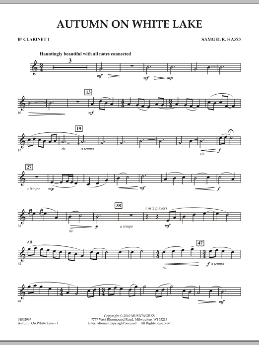 Autumn On White Lake - Bb Clarinet 1 (Concert Band)