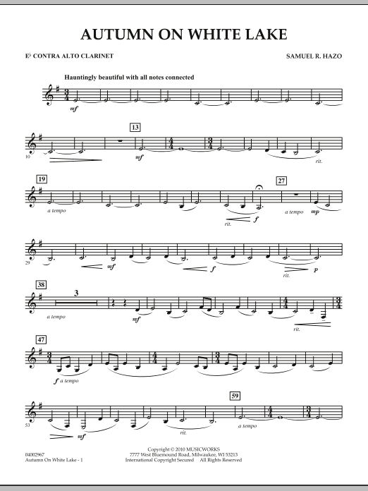 Autumn On White Lake - Eb Contra Alto Clarinet (Concert Band)