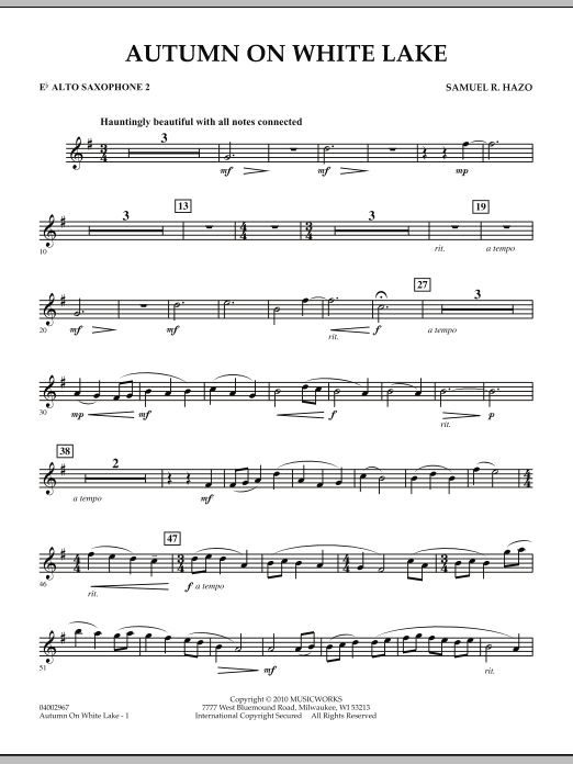 Autumn On White Lake - Eb Alto Saxophone 2 (Concert Band)
