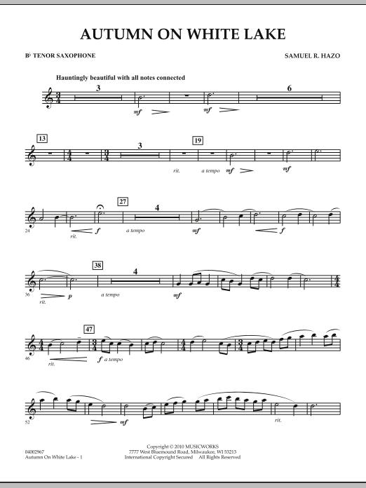 Autumn On White Lake - Bb Tenor Saxophone (Concert Band)