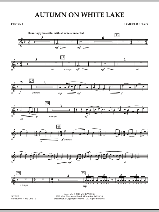 Autumn On White Lake - F Horn 1 (Concert Band)
