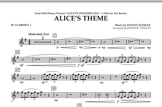 Alice's Theme (from Alice In Wonderland) - Bb Clarinet 1 (Concert Band)