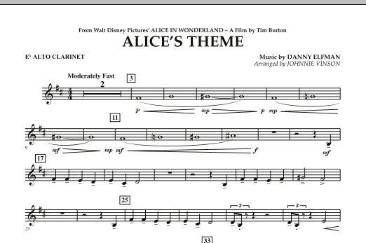 Alice's Theme (from Alice In Wonderland) - Eb Alto Clarinet (Concert Band)
