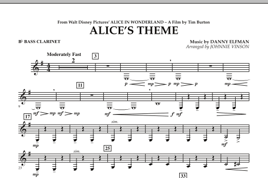 Alice's Theme (from Alice In Wonderland) - Bb Bass Clarinet (Concert Band)