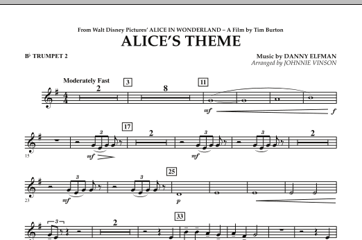 Alice's Theme (from Alice In Wonderland) - Bb Trumpet 2 (Concert Band)