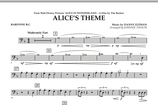 Alice's Theme (from Alice In Wonderland) - Baritone B.C. (Concert Band)