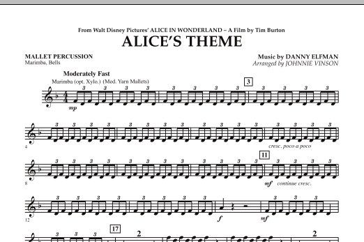 Alice's Theme (from Alice In Wonderland) - Mallet Percussion (Concert Band)