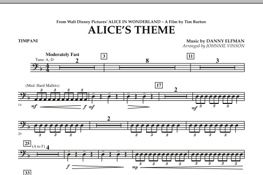 Alice's Theme (from Alice In Wonderland) - Timpani (Concert Band)