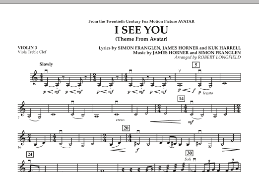I See You (Theme from Avatar) - Violin 3 (Viola Treble Clef) (Orchestra)