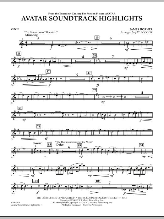Avatar Soundtrack Highlights - Oboe (Concert Band)