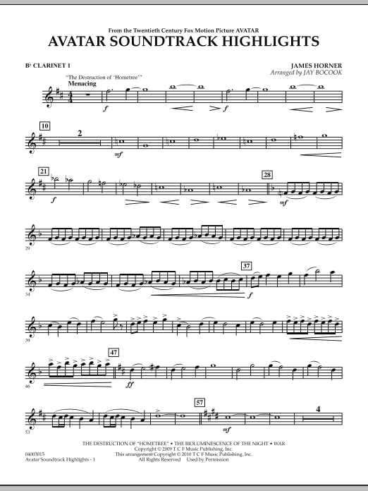 Avatar Soundtrack Highlights - Bb Clarinet 1 (Concert Band)