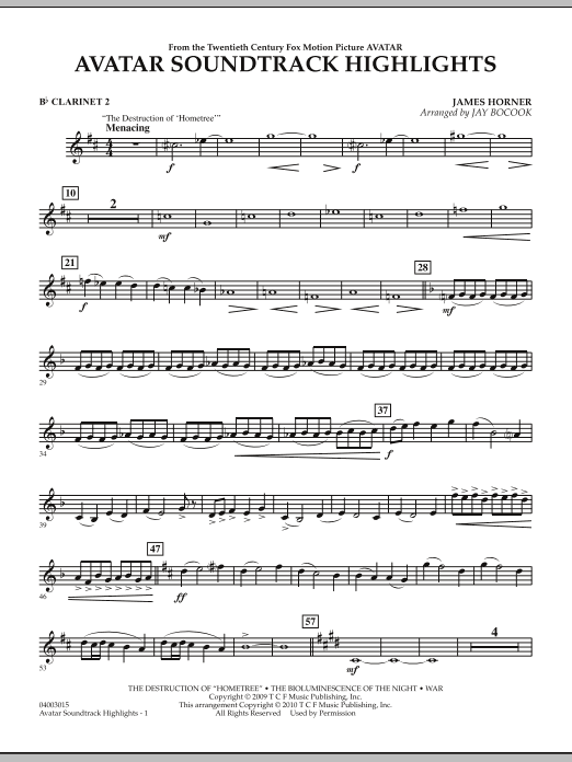 Avatar Soundtrack Highlights - Bb Clarinet 2 (Concert Band)