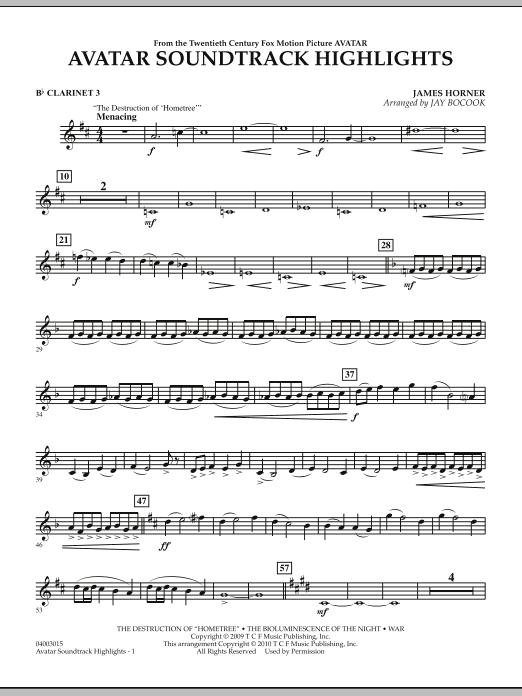 Avatar Soundtrack Highlights - Bb Clarinet 3 (Concert Band)